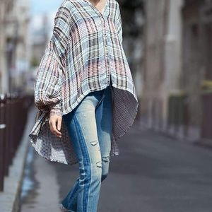 Free People come over oversized plaid buttondown